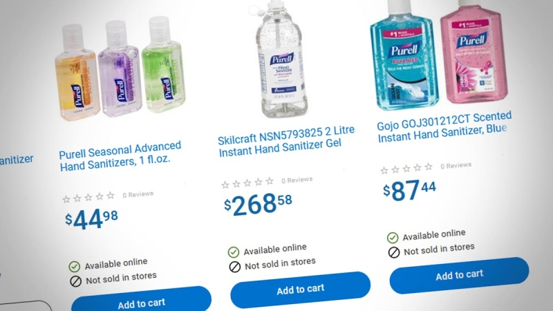Expensive bottles of hand sanitizer are seen on Walmart.ca on Feb. 5, 2020.