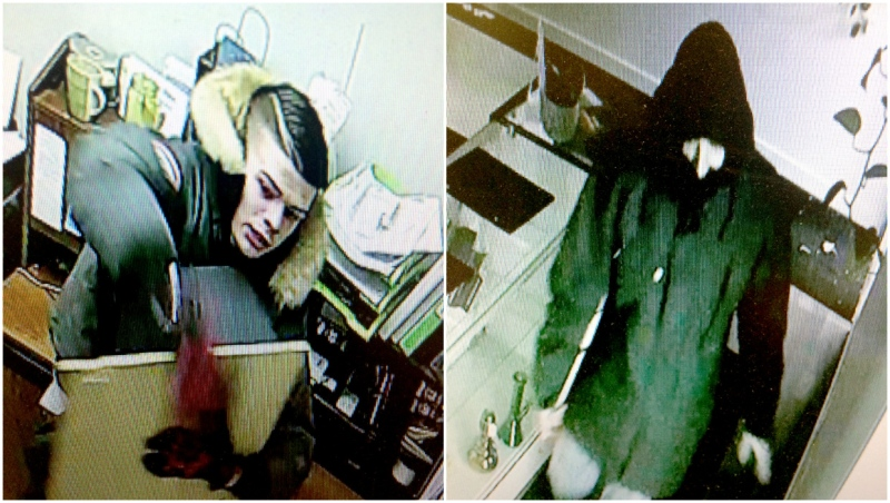 Police are asking for help from the public to identify two suspects involved in a break-in at a Strathmore cannabis retail store on Jan. 30. (Photos courtesy The Garden)