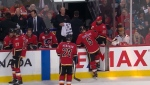 Mark Giordano leaves the ice after suffering a hamstring injury during Tuesday night's game against the Sharks