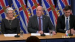 B.C. Premier John Horgan, centre, announces major changes at ICBC at a news conference on Thursday, Feb. 6, 2020.