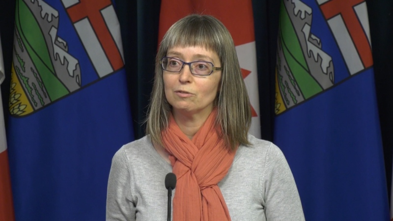 Dr. Deena Hinshaw, Alberta's Chief Medical Officer of Health, delivers an update on coronavirus precautions the province is taking. Feb. 6, 2020. (CTV News Edmonton)
