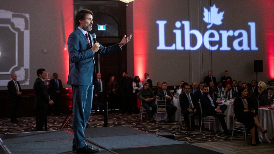 Prime Minister Justin Trudeau speaks at a Liberal Party fundraiser in Mississauga, Ontario on Thursday January 30, 2020. THE CANADIAN PRESS/Chris Young