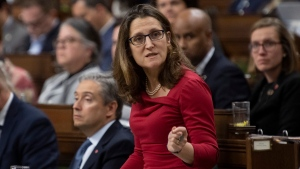 Deputy Prime Minister and Minister of Intergovernmental Affairs Chrystia Freeland responds to a question during Question Period in the House of Commons Thursday, February 6, 2020 in Ottawa. THE CANADIAN PRESS/Adrian Wyld
