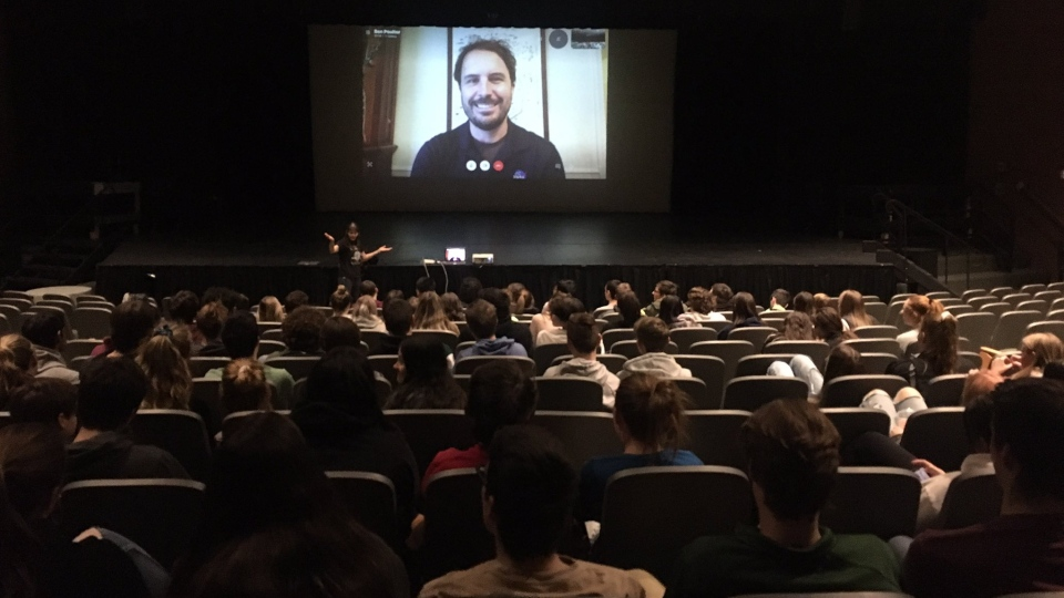 NASA scientist on conference call with students