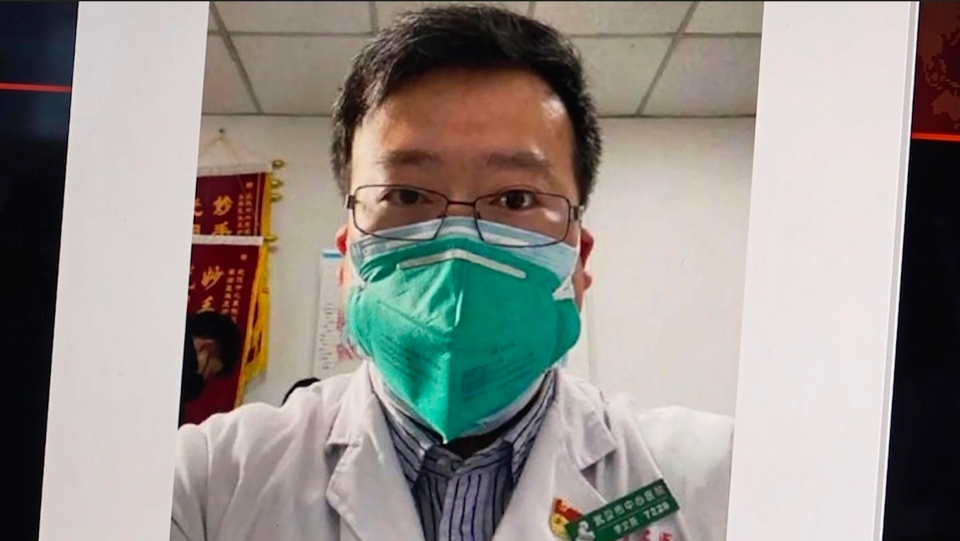 "This image from video, shows a selfie of Dr. Li Wenliang. The Chinese doctor who got in trouble with authorities in the communist country for sounding an early warning about the coronavirus outbreak died Friday, Feb. 7, 2020, after coming down with the illness. The Wuhan Central Hospital said on its social media account that Dr. Li, a 34-year-old ophthalmologist, was ""unfortunately infected during the fight against the pneumonia epidemic of the new coronavirus infection."" (AP Photo)"