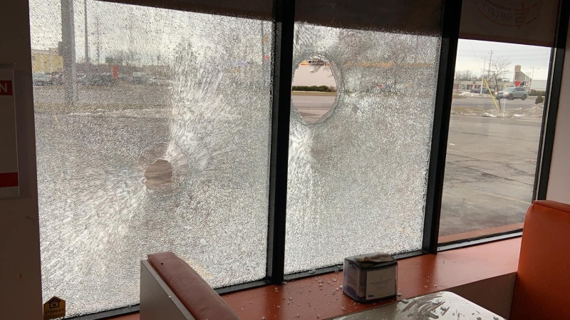 Windows were smashed at the Exeter Road location. (Facebook Shelby's Express)