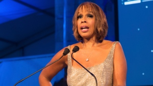 "This July 16, 2016 file photo shows ""CBS This Morning"" host Gayle King speaking at the 2016 Art For Life Benefit in Water Mill, N.Y. In the wake of a social media backlash, King says she is embarrassed and angry with how the network promoted part of her interview with WNBA star Lisa Leslie that concerned the late Kobe Bryant. (Photo by Scott Roth/Invision/AP)"