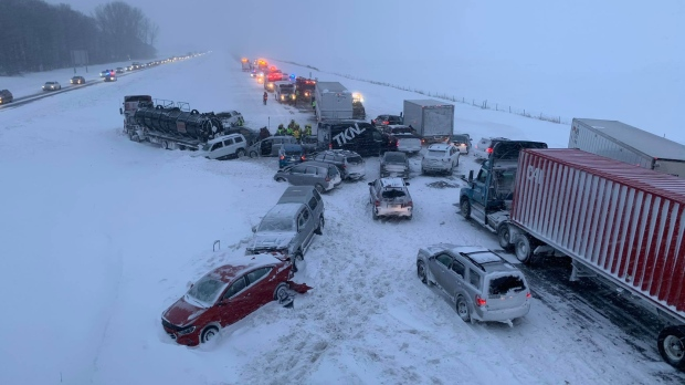 Dozens of vehicles wrecked in pileup on Highway 20