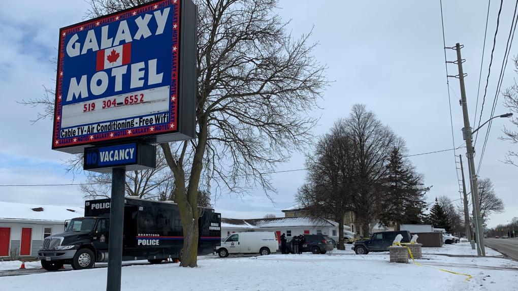 Brantford police at a motel shooting