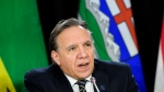 Francois Legault, Premier of Quebec speaks during a press conference after a meeting of the Council of the Federation, which comprises all 13 provincial and territorial leaders, in Mississauga, Ont., on Monday, Dec. 2, 2019. THE CANADIAN PRESS/Nathan Denette