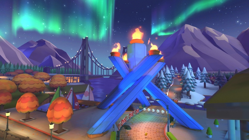 Vancouver's Olympic torch in Jack Poole Plaza features prominently in the preview image included in the tweet, and stylized versions of Vancouver landmarks including the Lions Gate Bridge, Coal Harbour and the North Shore mountains can also be seen. (Twitter/@mariokarttourEN)