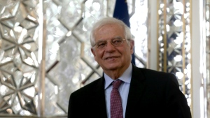 EU High Representative for Foreign Affairs and Security Policy Josep Borrell, pictured February 3, 2020 in Tehran, triggered a row saying he believed students had been galvanised by teen Swedish climate activist Greta Thunberg without realising the costs they would bear to ensure a carbon-neutral future. (AFP)