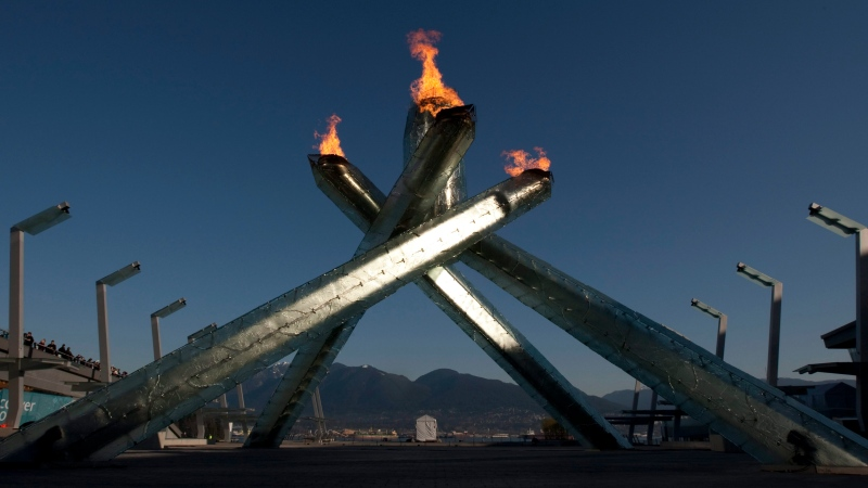 The Olympic cauldron burns at the 2010 Vancouver Winter Olympics Monday Feb.22, 2010. (THE CANADIAN PRESS / Adrian Wyld)