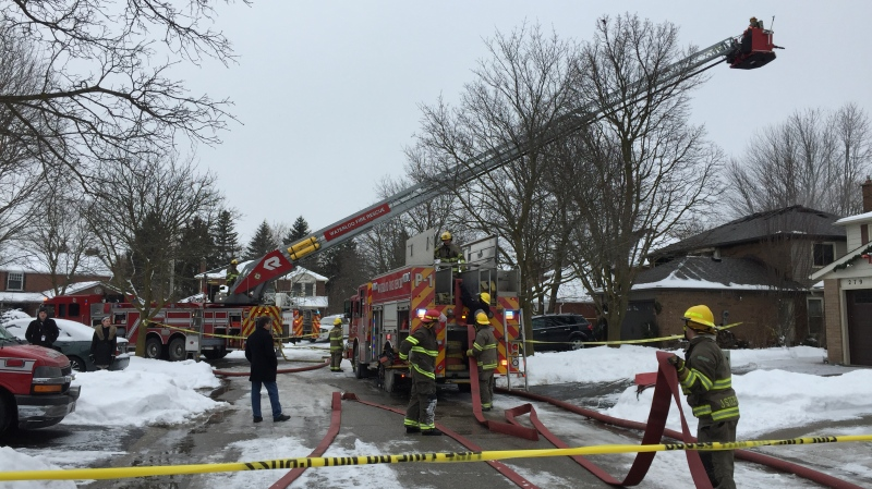 Faraday Court seen on Feb. 9, 2020 after a house fire. (Zayn Jinah / CTV Kitchener)