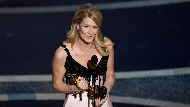 "Laura Dern accepts the award for best performance by an actress in a supporting role for ""Marriage Story"" at the Oscars on Sunday, Feb. 9, 2020, at the Dolby Theatre in Los Angeles. (AP / Chris Pizzello)"