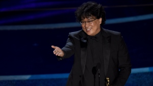"Bong Joon Ho accepts the award for best director for ""Parasite"" at the Oscars on Sunday, Feb. 9, 2020, at the Dolby Theatre in Los Angeles. (AP Photo/Chris Pizzello)"