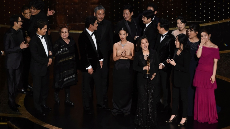 The cast and crew of 'Parasite' accept the award for best picture at the Oscars on Sunday, Feb. 9, 2020, at the Dolby Theatre in Los Angeles. (AP / Chris Pizzello) <br> <br> <b>Gallery sponsored by Wonder Bread</b>