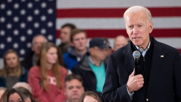 Democratic presidential candidate and former Vice President Joe Biden speaks during a campaign rally, Sunday, Feb. 9, 2020, in Hudson, N.H. (AP Photo/Mary Altaffer)
