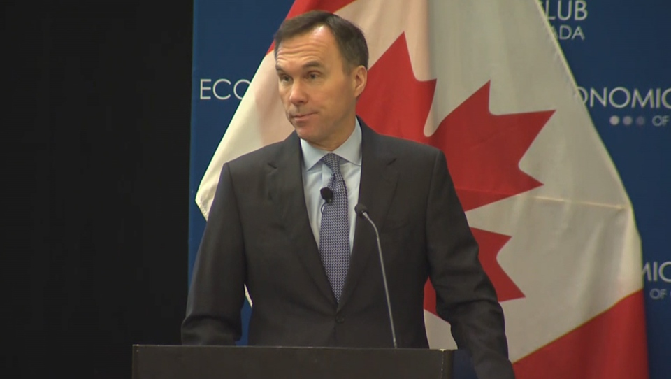 Finance Minister Bill Morneau addressing the Economic Club of Canada at The Westin in downtown Calgary on Feb. 10, 2020