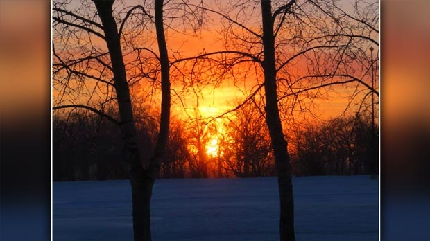 Beautiful sunrise at Lower Fort Garry