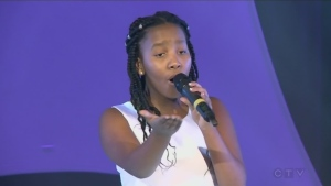 Ellie Maxwell sings at the CTV Telethon