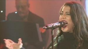 Jessica Crowe sings at the CTV Lions Telethon