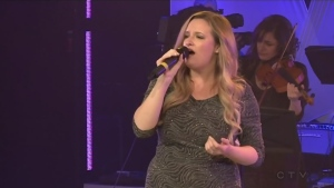 Cindy Thornton sings for the CTV Lions Telethon