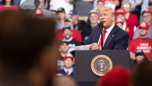 U.S. President Donald Trump speaks during a campaign rally, Monday, Feb. 10, 2020, in Manchester, N.H. (AP Photo/Mary Altaffer)