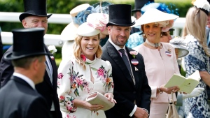 In this Thursday June 20, 2019 file photo, Peter Phillips and Autumn Phillips attends the third day of the annual Royal Ascot horse race meeting, which is traditionally known as Ladies Day, in Ascot, England. (AP Photo/Alastair Grant, File)