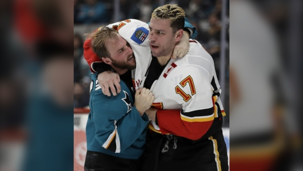 Flames use fast start to beat Sharks 6-2
