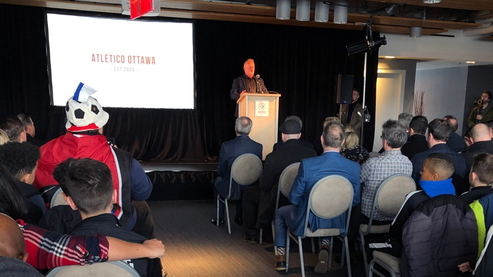 OSEG partner Jeff Hunt, a strategic partner for Atletico Ottawa, speaks at a news conference launching the franchise Tuesday at TD Place. (Dave Charbonneau/CTV Ottawa)