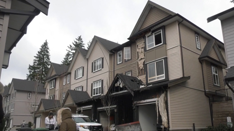 Multiple units in a Surrey townhouse complex were damaged by an early morning fire on Feb. 11, 2020.