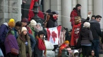 A protest at the B.C. legislature continued into the afternoon Tuesday. (CTV News)