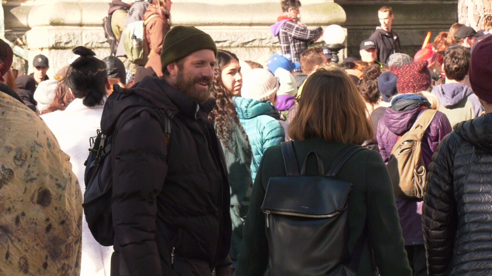 Coun. Ben Isitt (left) joined activists who oppose the Coastal GasLink pipeline at the B.C. legislature Tuesday. (CTV News)
