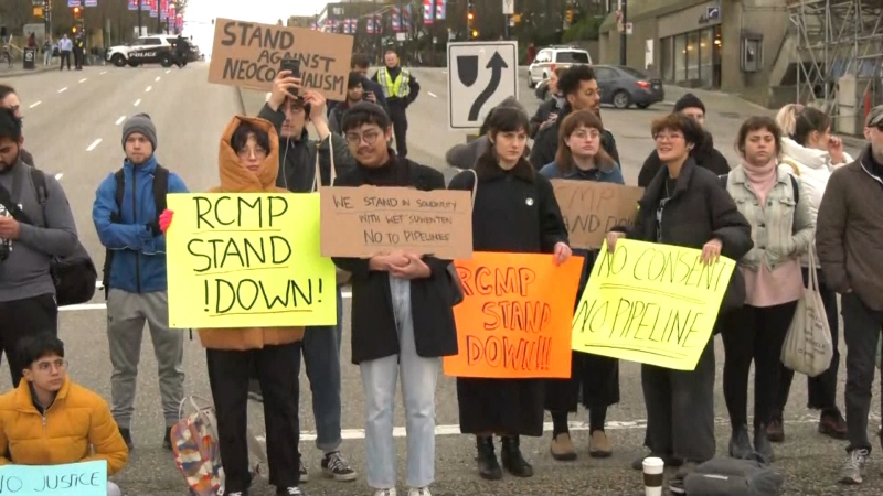 Pipeline opponents blocked a major Vancouver intersection on Feb. 11, 2020. A group is expected to disrupt the intersection at Commercial and Broadway on Feb. 19, 2020.