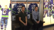 Canucks celebrate the Sedins