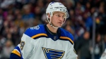 FILE - In this Jan. 2, 2020 file photo St. Louis Blues defenceman Jay Bouwmeester skates against the Colorado Avalanche during the third period of an NHL hockey game in Denver. (AP Photo/Jack Dempsey, file)