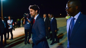 Prime Minister Justin Trudeau arrives in Dakar, Senegal on Tuesday, Feb. 11, 2020. THE CANADIAN PRESS/Sean Kilpatrick