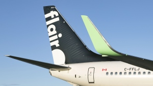 The tail section of a Flair Airlines plane is seen in this undated handout photo. THE CANADIAN PRESS/HO, Flair Airlines