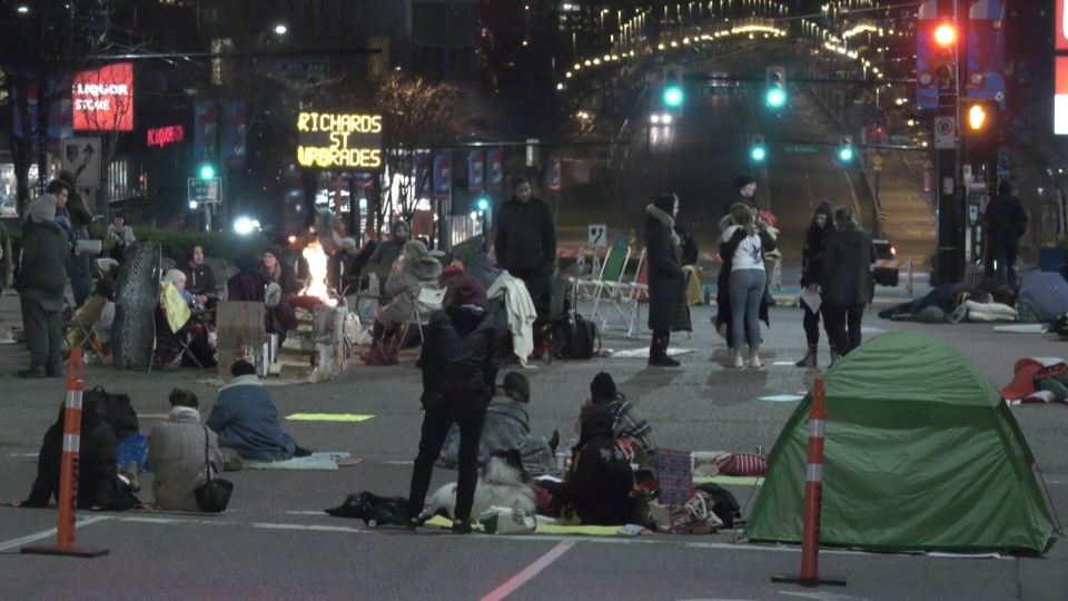 Protesters stayed overnight at the Vancouver intersection at Broadway and Cambie on Feb. 11, 2020. The intersection reopened the next morning.