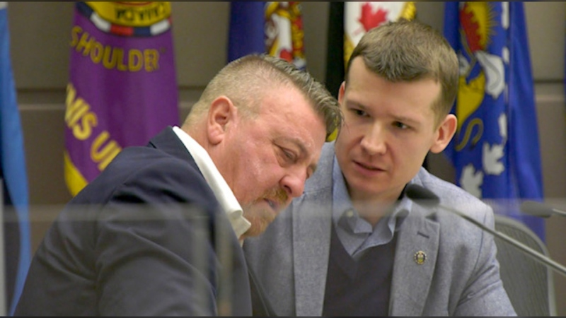 Coun. Joe Magliocca, left, and Coun. Jeromy Farkas speak during a recent council meeting.