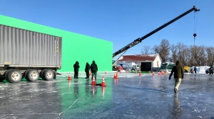 The Ice Road, which stars Liam Neeson and Laurence Fishburne was filming in Ile des Chenes, Man. (Source: Jon Hendricks/ CTV News)