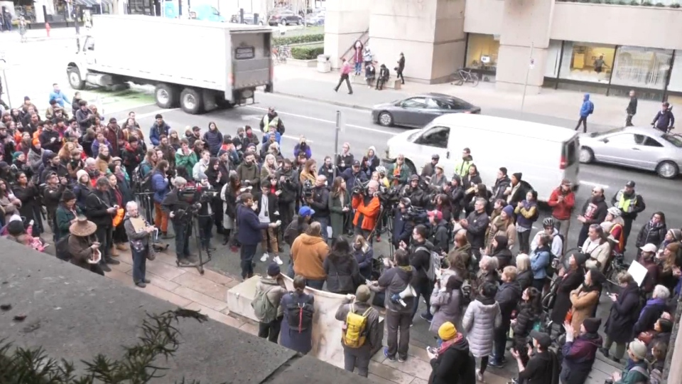 A crowd of protesters outside the B.C. Supreme Court building in Vancouver on Feb. 12, 2020.