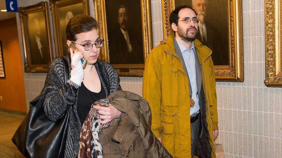 Clara Wasserstein, left, and Yochonon Lowen arrive at courthouse in Montreal, Monday, February 10, 2020. THE CANADIAN PRESS/Graham Hughes
