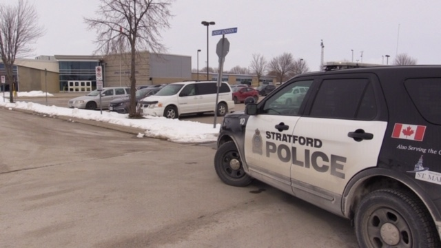 Police investigate after a stabbing outside Little Falls Public School in St. Marys, Ont. on Wednesday, Feb. 12, 2020. (Scott Miller / CTV London)
