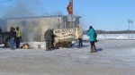 Protesters set up a blockade along the CN and Via rail tracks near Headingley, Manitoba in support of the Wet'suwet'en standoff against the RCMP in British Columbia. (Source: Harrison Powder/ Facebook)