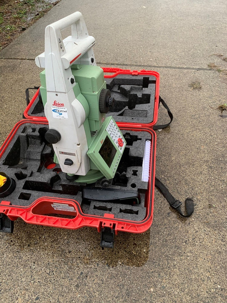 Among the stolen items was a Leica Viva TS16 total station, which is green with a white handle and was in a bright red case, and has the serial number 3010318. (Coquitlam RCMP)