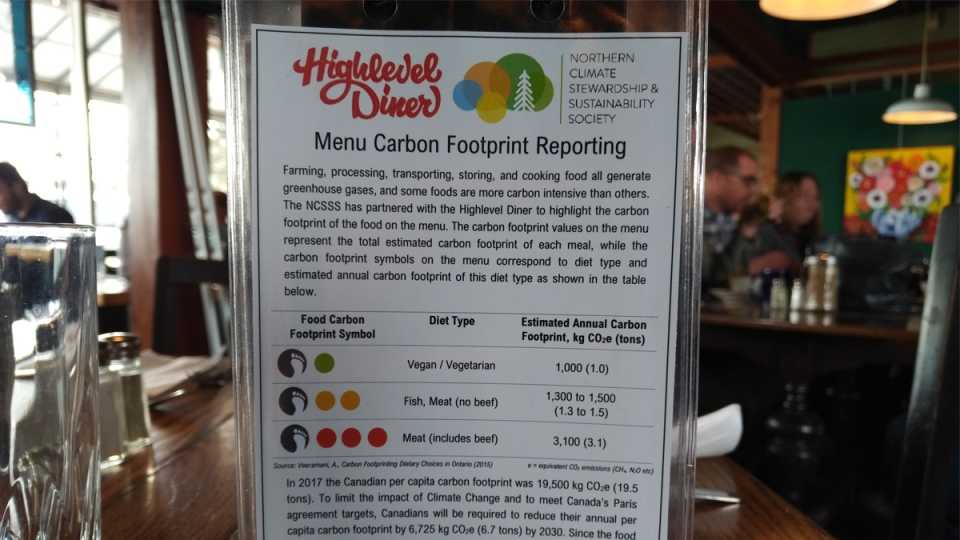 Highlevel Diner is labelling its menu to show the carbon footprint of each meal. Feb. 12, 2020. (CTV News Edmonton)