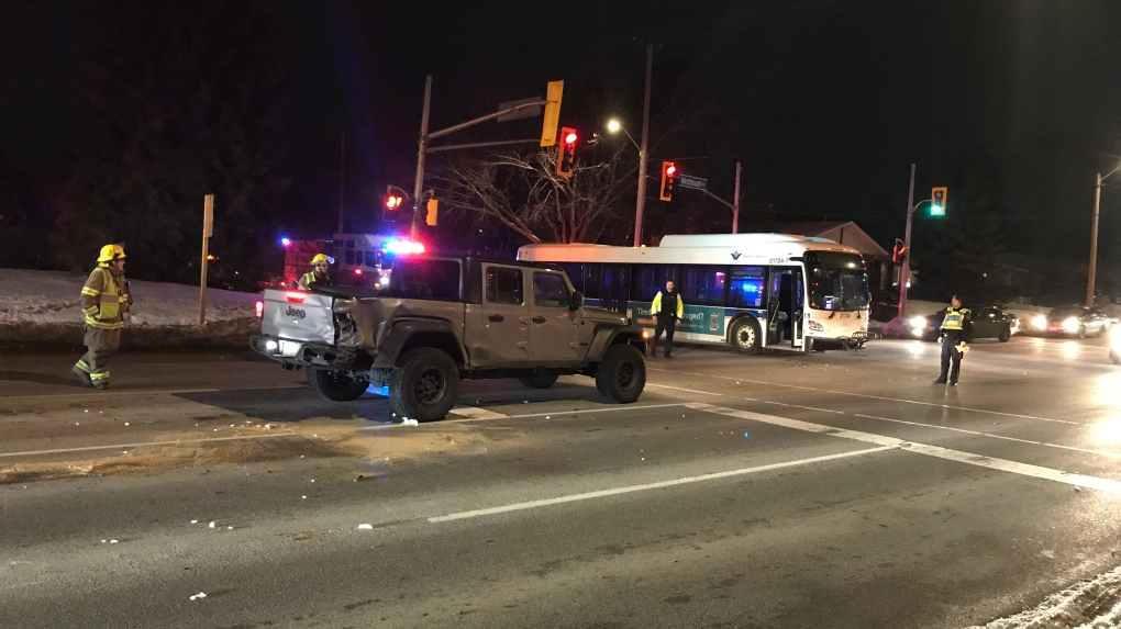 Crash involving GRT bus sends one person to hospit