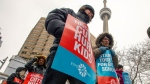Striking Ontario teachers protest in downtown Toronto on Thursday, February 6, 2020. THE CANADIAN PRESS/Frank Gunn